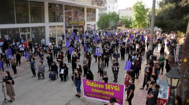 Milli boksörün öldürdüğü Zeynep için sosyal mesafeli eylem