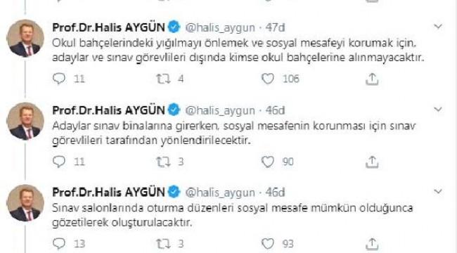 ÖSYM Başkanı Aygün: YKS'ninher oturumunda maske ve dezenfektan dağıtılacak