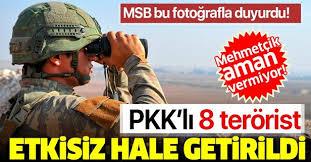 MSB: Son 24 saatte 8 PKK/YPG'li terörist etkisiz hale getirildi
