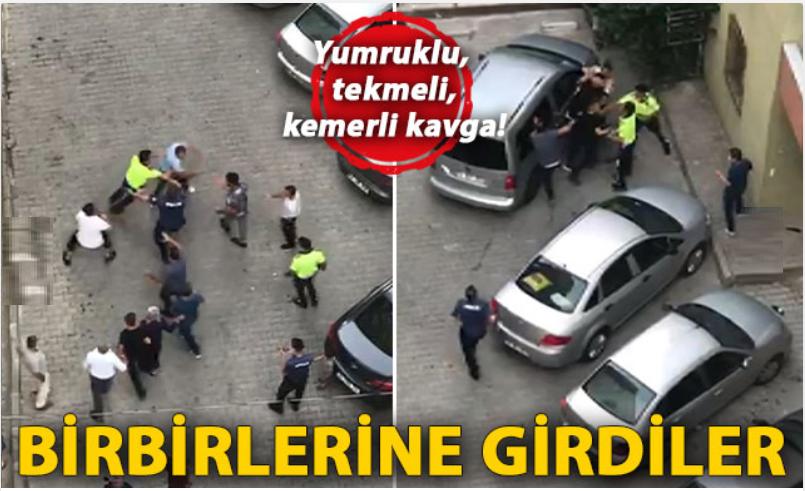 Polislerin bile ayıramadığı yumruklu, tekmeli, kemerli kavga kamerada