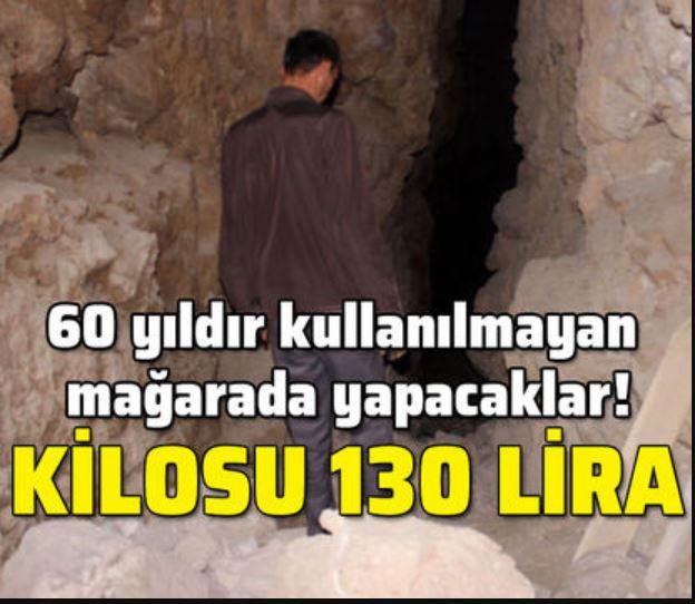60 yıldır kullanılmayan mağarada yapacaklar! Kilosu 130 lira
