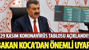 Sağlık Bakanı Fahrettin Koca 29 Kasım hasta ve vaka sayılarını açıkladı!
