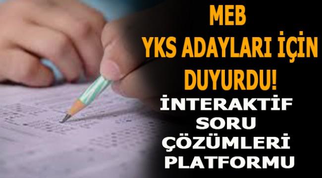 MEB'den YKS adayları için 'İnteraktif Soru Çözümleri Platformu'