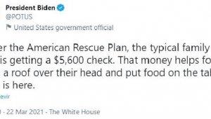 Biden: Dört kişilik bir aile 5 bin 600 dolar yardım alacak
