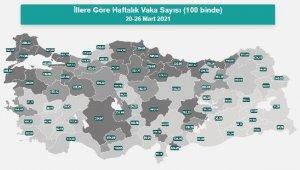 En yüksek vaka sayıları Samsun, İstanbul ve Yalova'da
