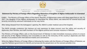 Afganistan Dışişleri Bakanlığı, Afgan büyükelçinin kaçırılan kızı hakkında açıklama yaptı
