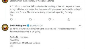 Filipinler Savunma Bakanlığı: askeri uçak kazasında 17 ölü