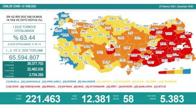 Koronavirüs salgınında günlük vaka sayısı 12bin 381 oldu