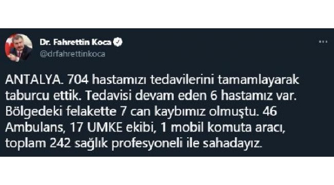 Bakan Koca: Antalya ve Muğla'da 1154 hastamızı taburcu ettik